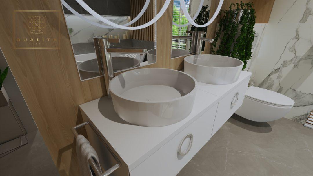 Łazienka z wanną wolnostojącą i kabiną
