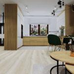 Kuchnia jasna z dodatkami drewna i lamelami