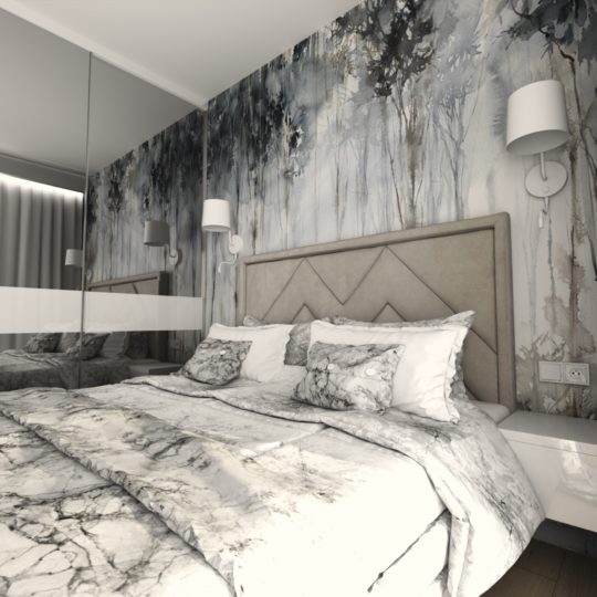 Projekty sypialni z fototapetami Wonderwall