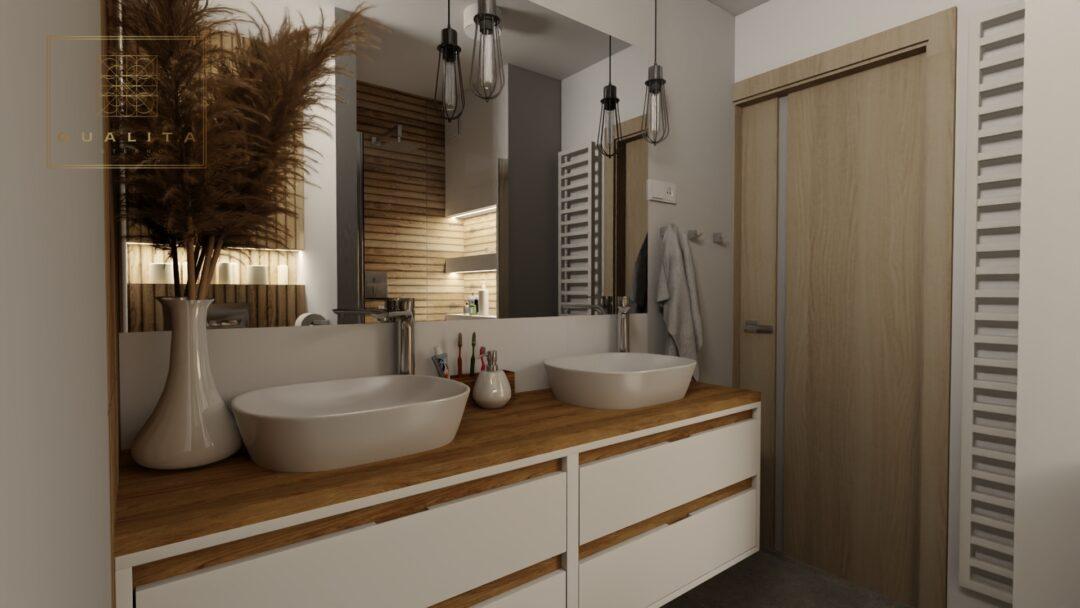 Aranżacja małej łazienki z oddzielną toaletą