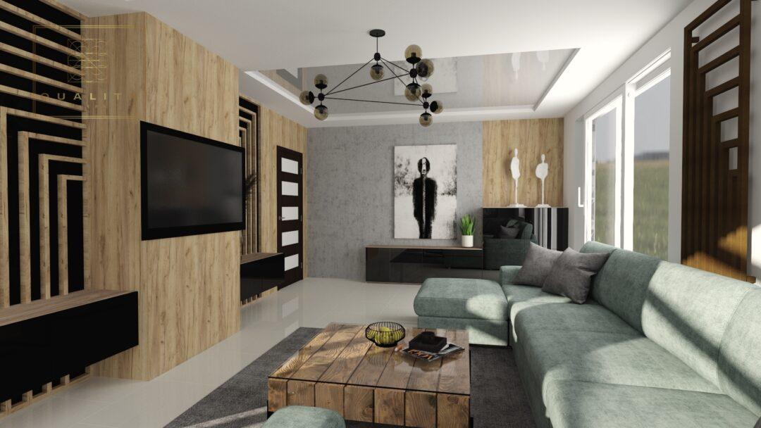 Qualita_Interno_salon w stylu_industrialnym_2020_z_drewne_i_betonem