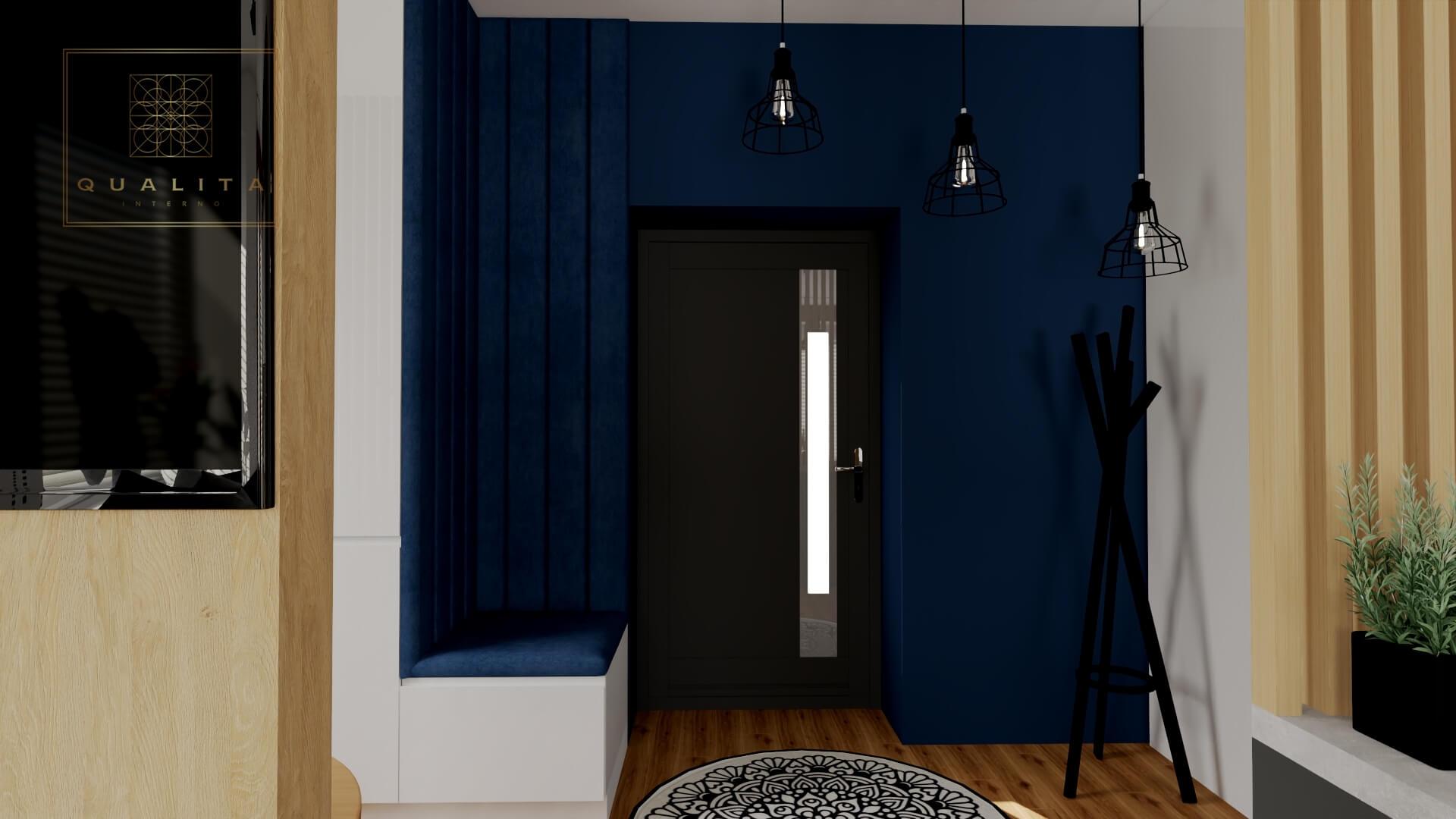 Qualita_Interno_korytarz_hol_w_kolorze_granatowym