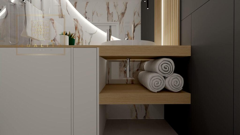 Qualita_Interno_nowoczesna_zabudowa_pralki_slim_przy_umywalce_w_małej_łazience