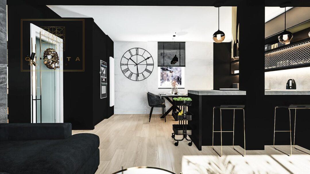 Qualita_Interno_czarne_ściany_w_salonie_i_kuchni_aranżacje_online
