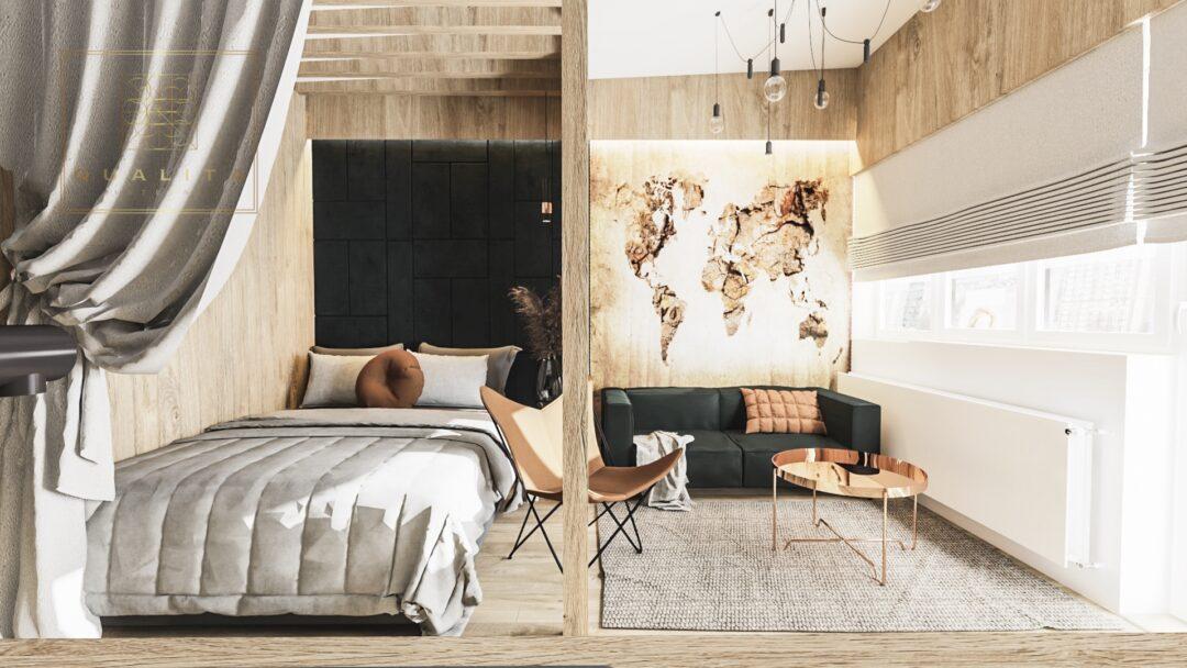 Nowoczesna Mikrokawalerka 25m2projekty małych mieszkań