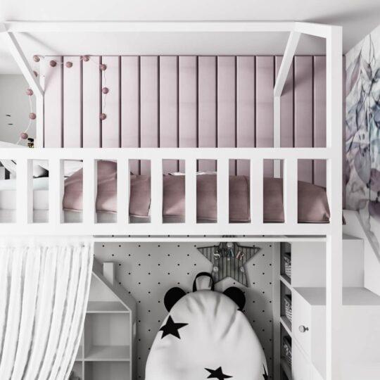 pokój dla dziewczynki z łóżkiem piętrowym