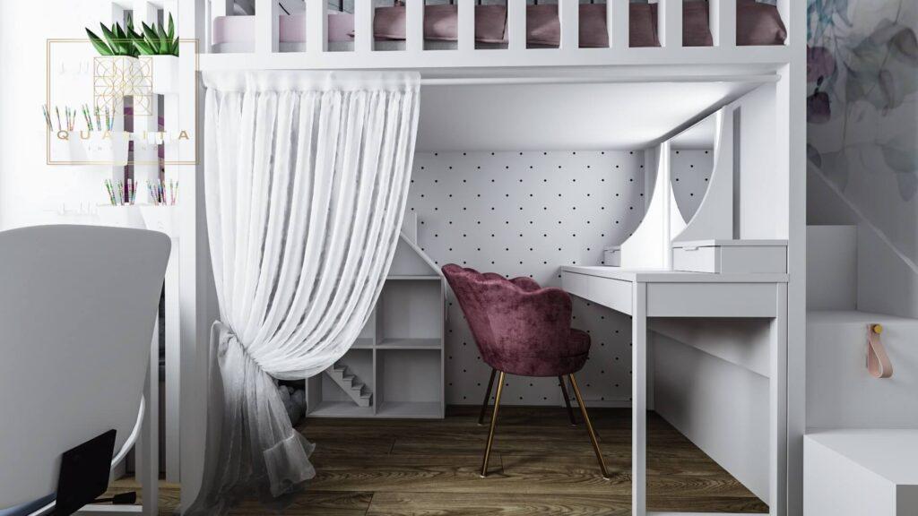 Qualita_Interno_toaletka_pod_łóżkiem_piętrowym_dla_dziewczynki