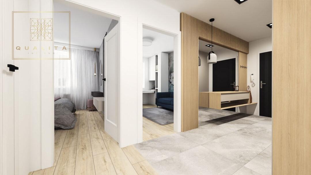 Qualita_Interno_nowoczesne_projekty_wnętrz_online_korytarz_w_małym mieszkaniu