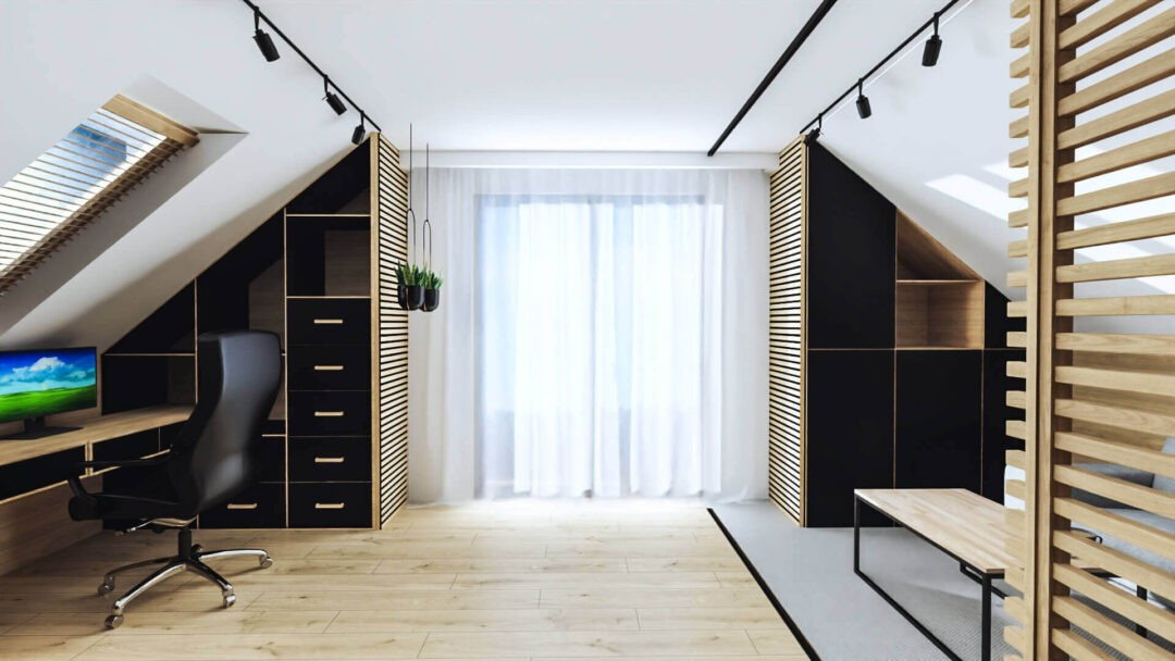 Qualita Interno Nowoczesne i modne projekty gabinetów w domu na poddaszu ze skosami 2021