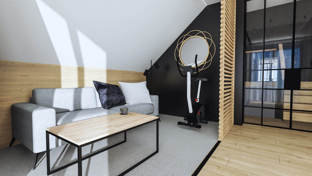 Qualita Interno Nowoczesne i modne projekty gabinetów w domu na poddaszu ze skosami aranżacje