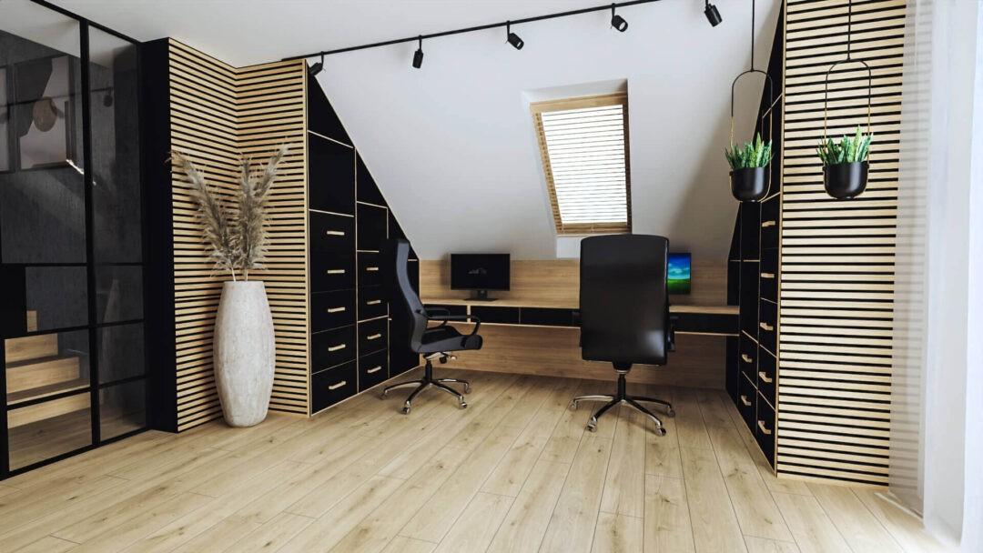Qualita Interno Nowoczesne i modne projekty gabinetów w domu na poddaszu ze skosami inspiracje