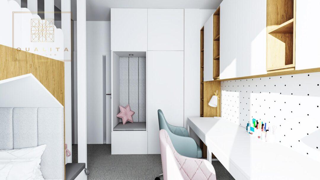 Qualita Interno Nowoczesny pokój dla dwóch dziewczynek z łóżkiem piętrowym