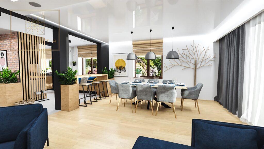 Qualita Interno Projekt nowoczesnego salonu z kominkiem 2021