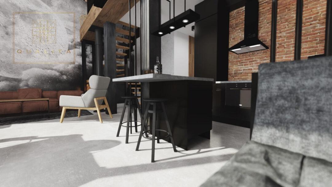 Qualita Interno Projekty wnętrz domu 80m2 nowoczesna stodoła