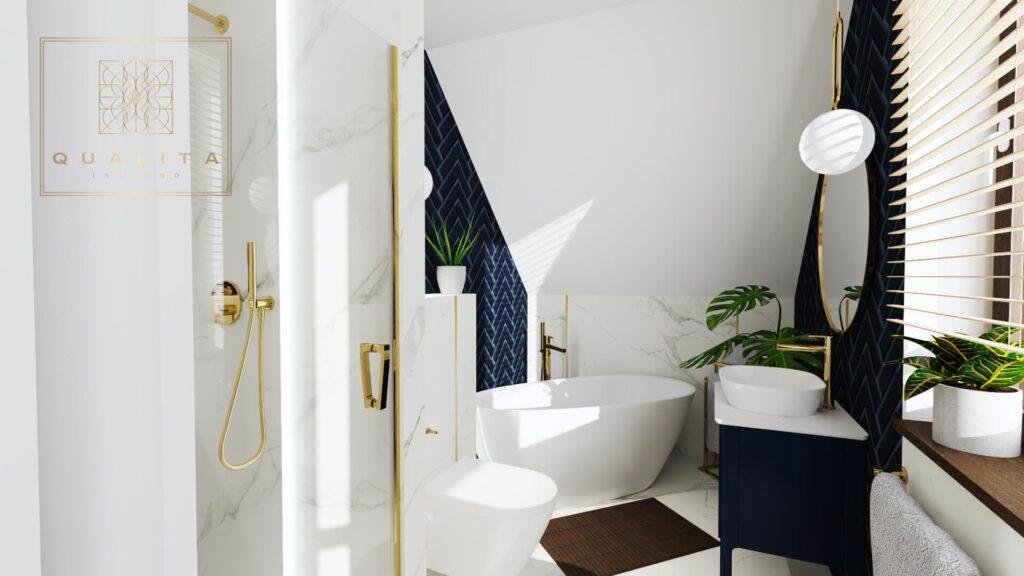 Qualita Interno Trendy płytki do łazienki granatowa jodełka i marmur