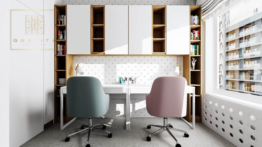 Qualita Interno biurko w małym pokoju dziecka projekty inspiracje aranżacje zdjęcia