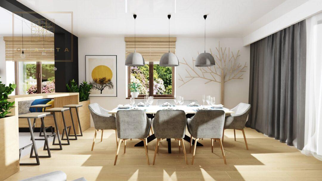 Qualita Interno duży nowoczesny salon z jadalnią i kominkiem