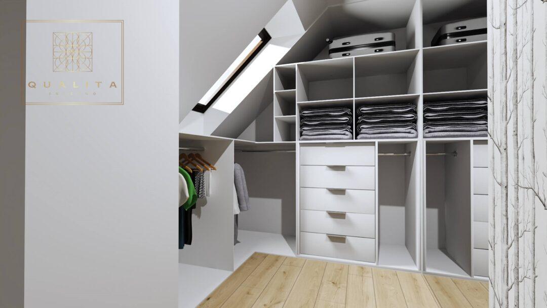 Qualita Interno garderoba w sypialni ze skosami