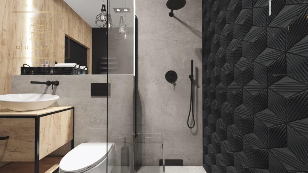 Qualita Interno łazienka 3m2 z prysznicem nowoczesne aranżacje