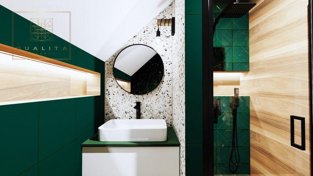 Qualita Interno łazienka nowoczesne aranżacje z płytkami Lastryko
