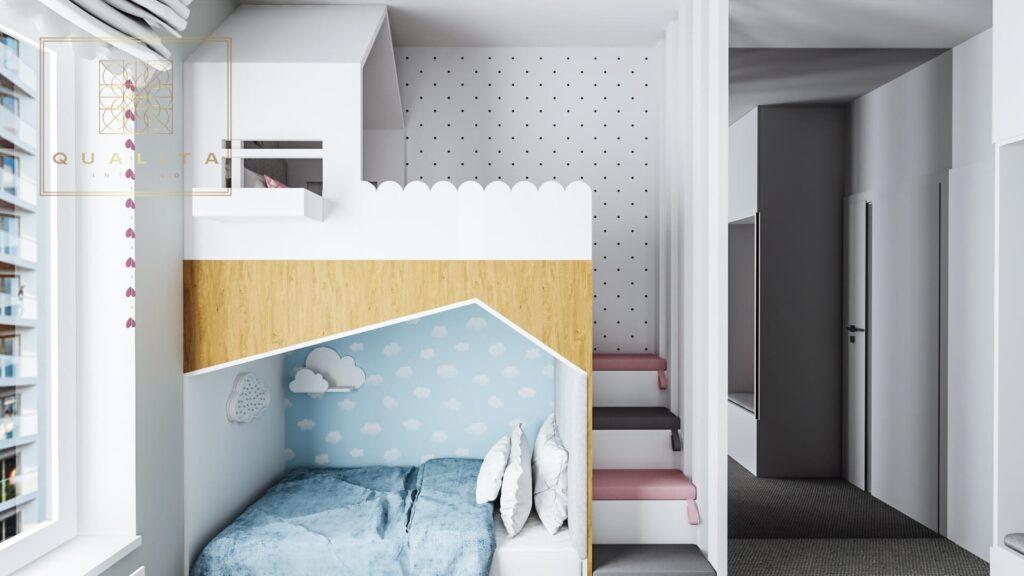 Qualita Interno łóżko piętrowe w małym pokoj dla dziewczynek 2021