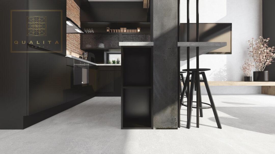Qualita Interno microcement w salonie i kuchni na podłodze