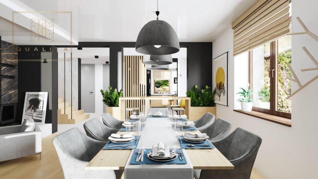 Qualita Interno piękna jadalnia w nowoczesnym salonie z kominkiem trendy aranżacje 2021
