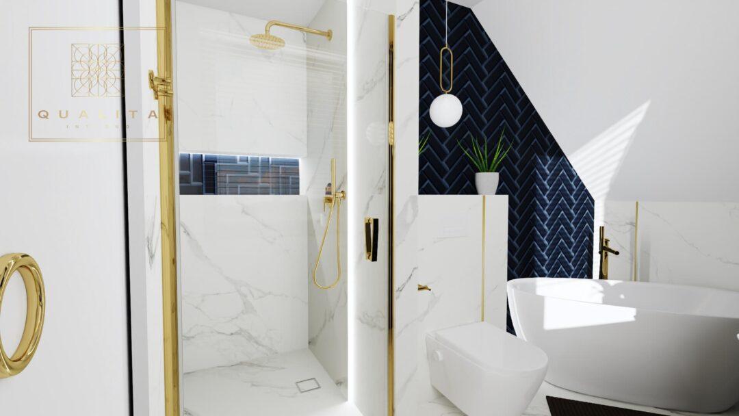 Qualita Interno płytki granatowe jodełka aranżacje łazienek online