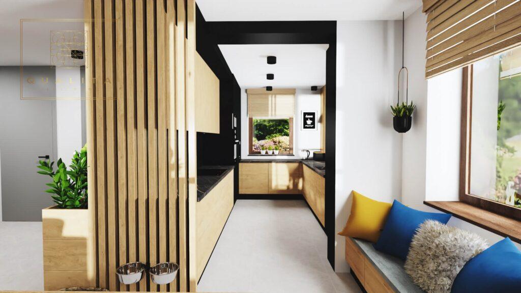 Qualita Interno wąska kuchnia z oknami aranżacje projekty inspiracje