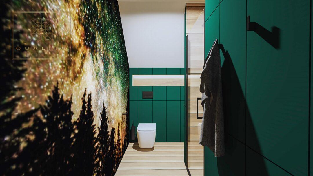 Qualita Interno zieleń butelkowa w łazience aranżacje projekty inspiracje