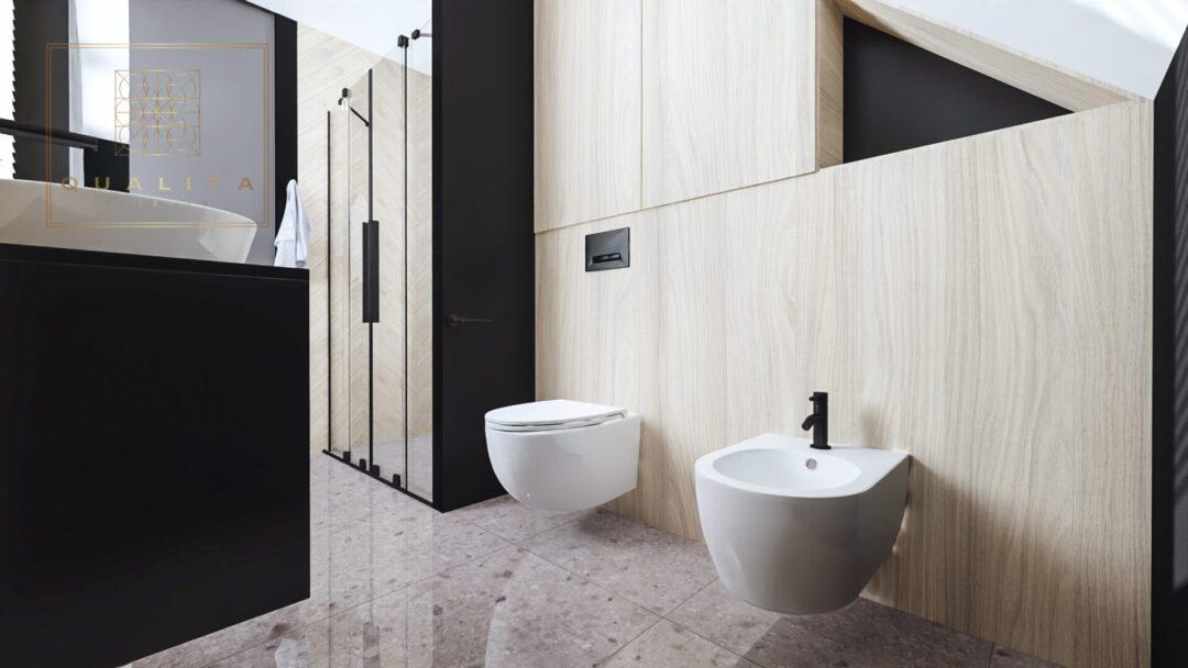 Qualita Nowoczesna zabudowa wc w łazience