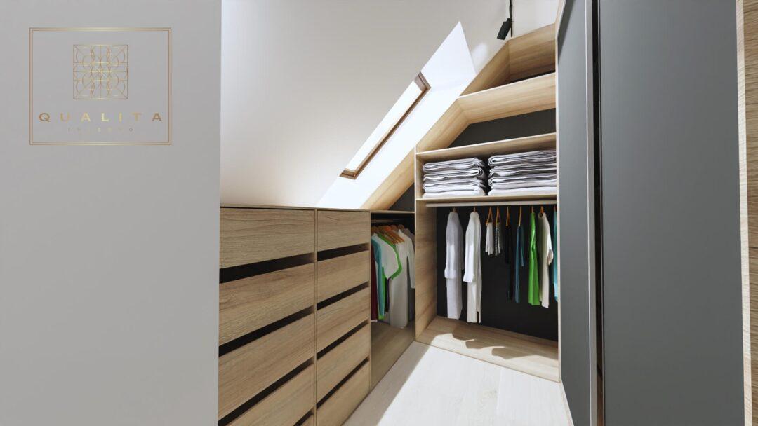 Qualita projekty aranżacje garderoby na poddaszu