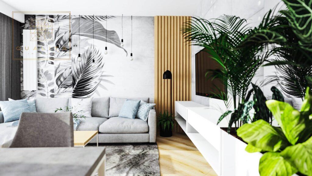 Qualita_Interno Nowoczesne projekty małych salonów 2021 jaka fototapeta do salonu 2021