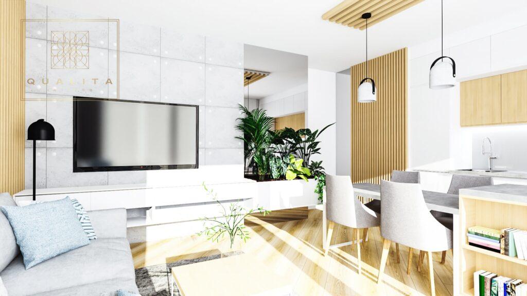 Qualita_Interno Nowoczesne projekty małych salonów z jadalnią i aneksem kuchennym aranżacje inspiracje