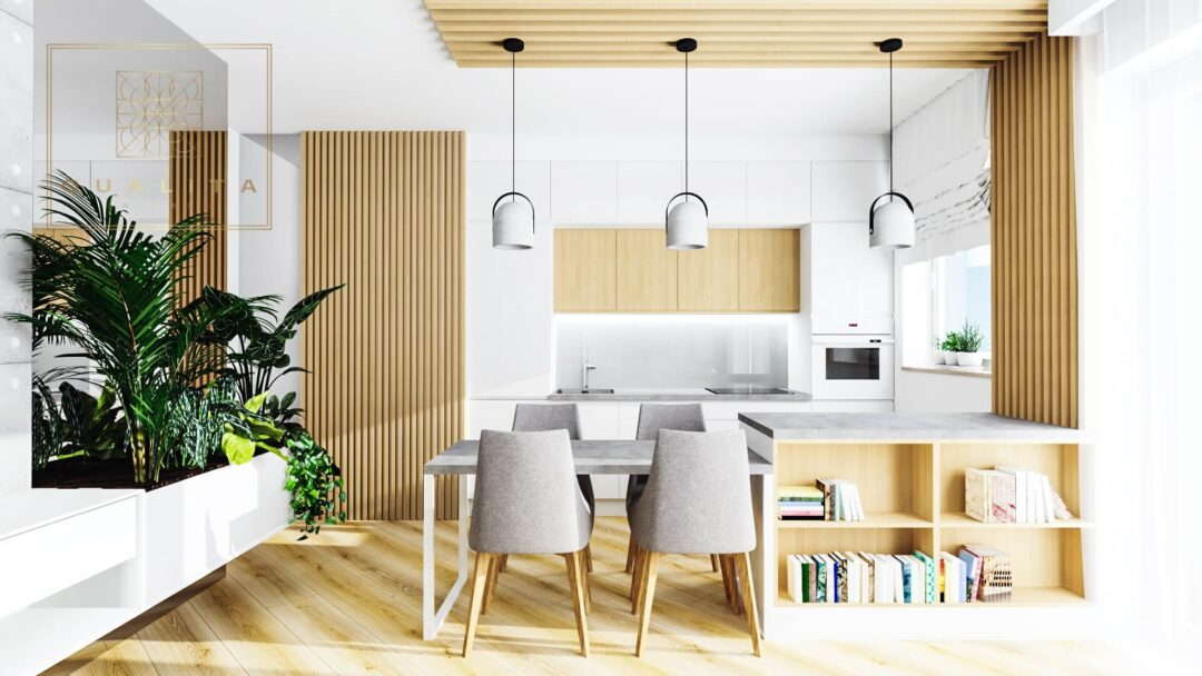 Qualita_Interno Projekt małego salonu 30m2 z aneksem kuchennym i stołem