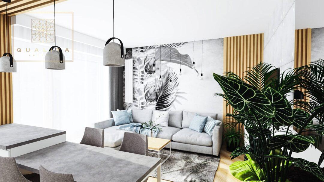 Qualita_Interno salon z jadalnią 25m2 Projektowanie salonów online