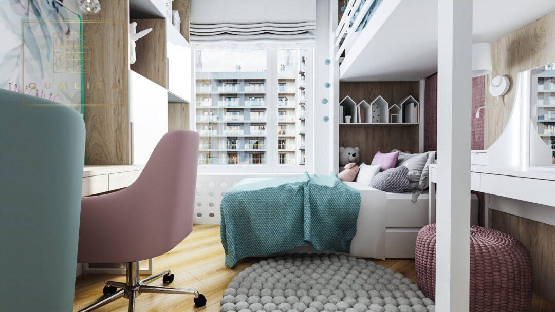 Qualita_Interno_pokój_dla_dziewczynek_z_łóżkiem_piętrowym i toaletką