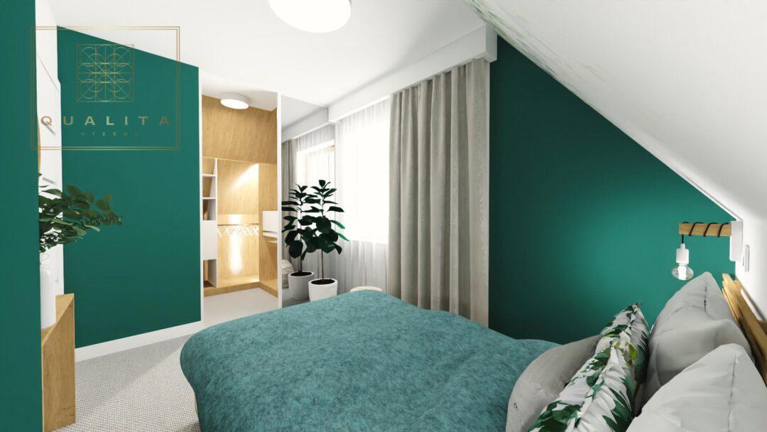 Qualita_Interno_nowoczesne aranżacje małych sypialni na poddaszu ze skosami