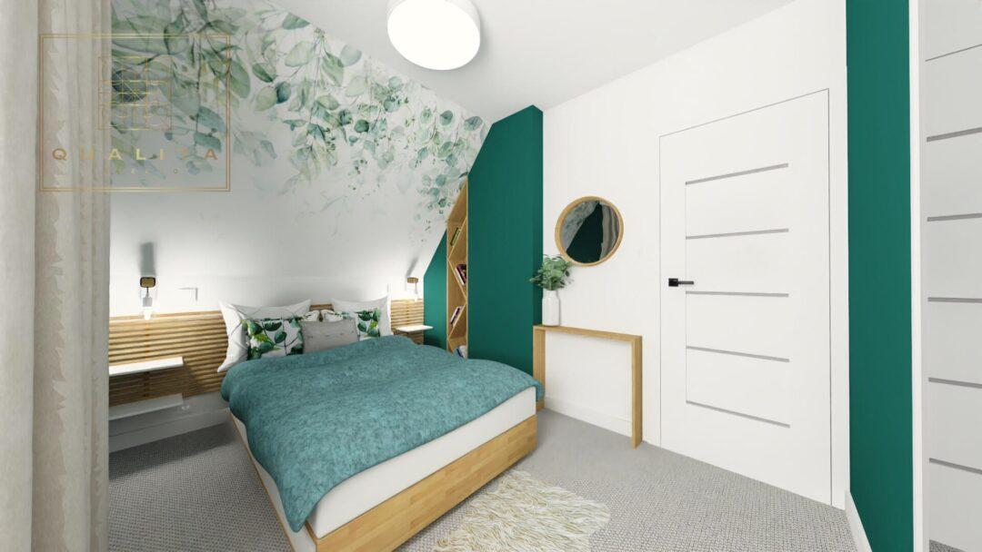 Qualita_Interno_projekt małej sypialni na poddaszu z garderobą
