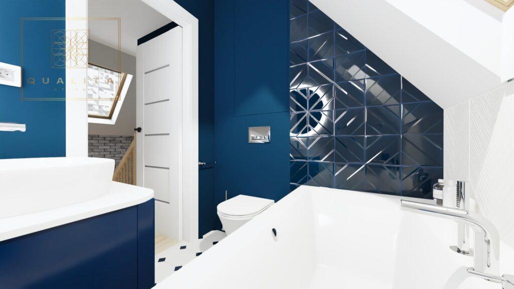 Qualita_Interno_projektant_łazienek_Trójmiasto_Pomorskie Łazienka z niebieskimi płytkami