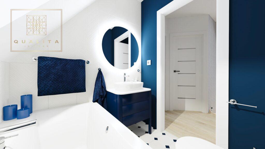 Qualita_Interno_projektant_łazienek_Trójmiasto_Pomorskie biało-niebieska łazienka na poddaszu