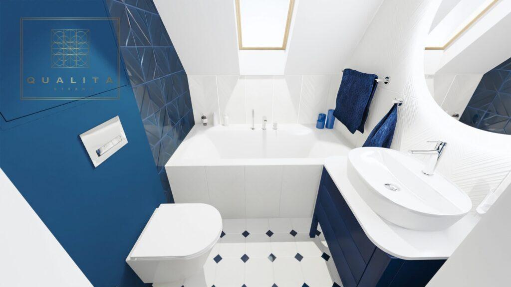 Qualita_Interno_projektant_łazienek_Trójmiasto_Pomorskie - mała łazienka na poddaszu z wanną