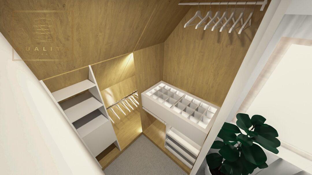 Qualita_Interno_projekty_nowoczesna malutka garderoba w sypialni na poddaszu