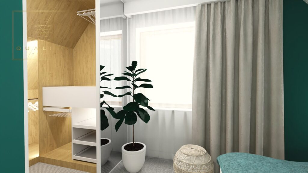 Qualita_Interno_projekty_nowoczesnych_sypialni_online z małą garderobą